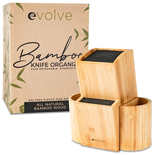"Evolve Bamboo Knife Block  Universal Kitchen Knife Holder  Safe amp Space Saver Knife Storage that Covers Knife Blades Up To 10"" amp Holds Up To 20 Knives with Machine Washable amp BPA Free Flex Rods"
