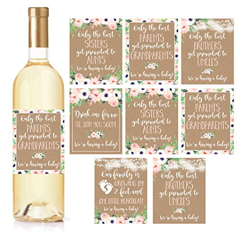8 Pregnancy Announcement Gifts, Announcing New Baby Reveal, Funny Wine Bottle Labels or Stickers For Parents to Grandparents, Brothers Sisters Promoted to Aunts Uncles, Surprise Best Friends Expecting