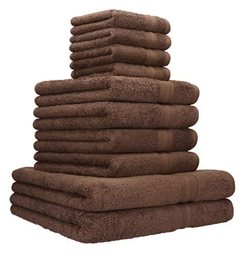 Betz Lot de 10 Serviettes Set de 2 Serviettes, draps de Bain 4 Serviettes de Toilette 4 lavettes qualité 600 g/m² 100% Coton Gold Couleur Marron Noisette