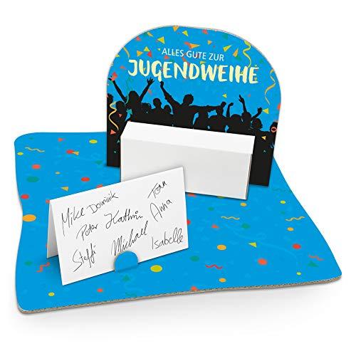 itenga Jugendweihe Verpackung Gastgeschenk Geldgeschenk mit Bodenplatte Abschluss Feier Jungen Mädchen