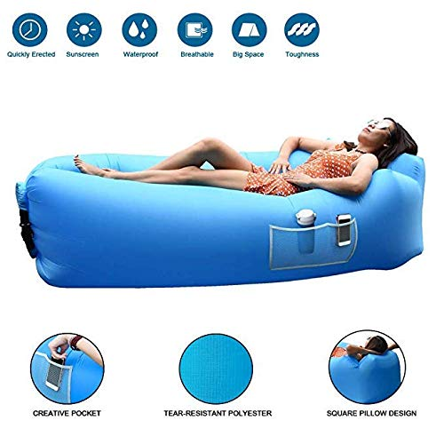 LISTOS' Hammock Air Sofa,Inflatable Lounger with Water Proof,Anti-Air Leaking Design,Ideal Portable Couch and Beach Chair Camping Accessories for Parties Picnic&Festival, Lazy Bed Air Bag Sofa(Blue)