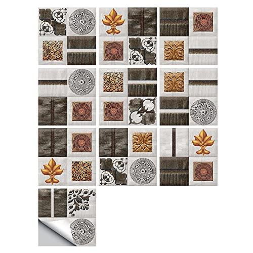 Pegatinas para azulejos de estilo europeo simple impermeable pegatinas de pared DIY autoadhesivas, autoadhesivas retro cuadrados para decoración de muebles de cocina, baño, 20 cm x 20 cm x 10 piezas