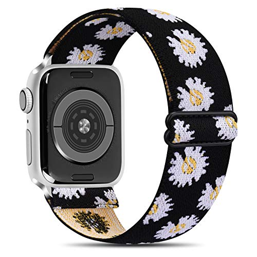 Senka Elástico Ajustable Correa Compatible con Apple Watch 38mm 42mm 40mm 44mm, Pulseras de Repuesto Patrón Suave Elásticos para iWatch Series 6 5 4 3 2 1,Hombre y Mujer(Margarita,38mm/40mm)