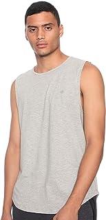 تيشيرت قطن برقبة دائرية وشعار امامي بدون اكمام للرجال عمرو دياب من 34 - زيتي، XL