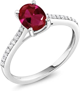 Gem Stone King 10K White Gold Pave Diamond Engagement Solitaire Ring set with 8x6mm Oval Red Created Ruby 1.25 ct (Available 5,6,7,8,9)