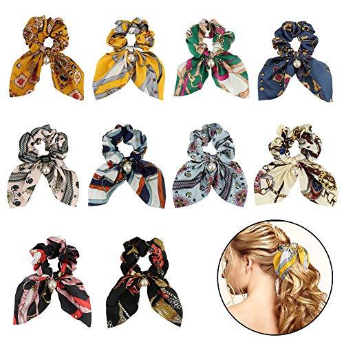 Fantesi Haargummis, Chiffon-Haargummi, elastische Haarbänder, Schleife, Perlen, Chiffon, Pferdeschwanz-Halter für Frauen, Mädchen, Haarzubehör, 10 Stück