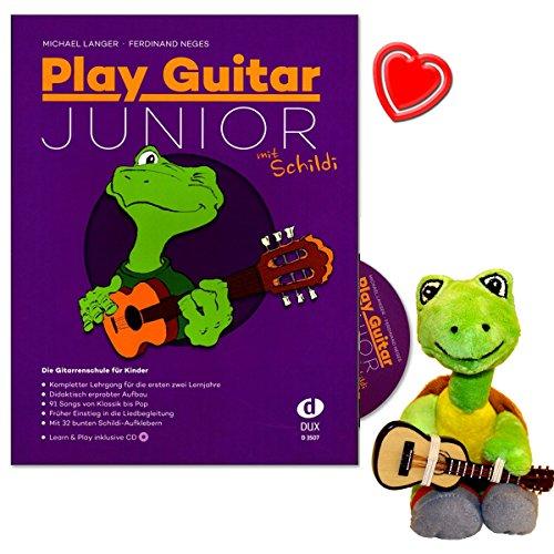 Play Guitar Junior mit Schildi - Gitarrenschule für Kinder - Kompletter Lehrgang für die ersten zwei Lemjahre in einem Band - mit CD, 32 Aufklebern, Notenklammer, Stofftier - D3507-9790500174066