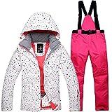 Mitef - Set di giacca da neve e pantaloni, impermeabile, antivento, da donna - - S