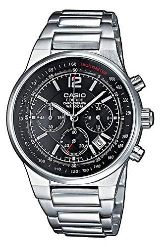 Casio EDIFICE Orologio, Robusta Cassa, 10 BAR, Nero, Uomo con Cinturino in Acciaio Inox EF-500D-1AVEF