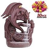 INONE Ceramic Backflow Incense Holder, Dragon Waterfall Incense Burner, Free 30 pcs Incense Cones