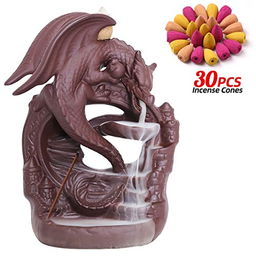 INONE Ceramic Backflow Incense Holder, Dragon Waterfall Incense Burner, Free 30 pcs Incense Cones