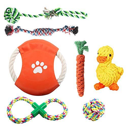 OKPOW Welpenspielzeug, 7 Stück sicheres Kauspielzeug Hund, Baumwollknoten Hundespielzeug, geeignet für 8 Wochen Zahnschleiftraining