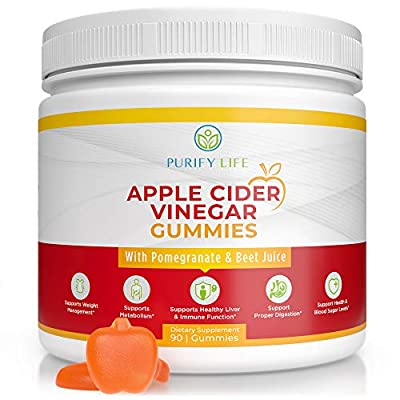 Apple Cider Vinegar Gummies - Unfiltered ACV (3 Month Supply) Weight Loss Alternative to Capsules & Pills for Belly Burner - 90ct Immune System Support, Detox, Metabolism, Acid Reflux - Kids & Adults from Purify Life