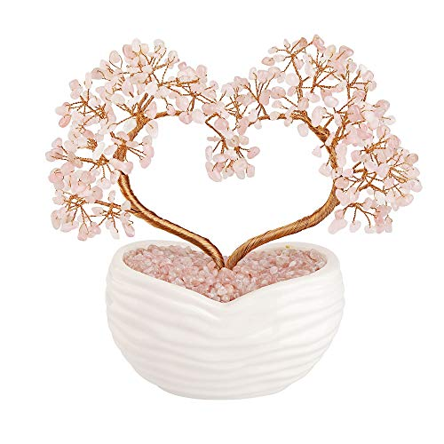Top Plaza Rose Quartz Healing Crystals Stones Tree Gemstones Bonsai Money Tree Good Luck Wealth Figurine Decor for Home Living Room Love Heart Wedding Decoration 8 Inches
