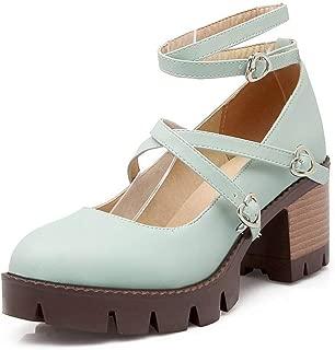 BalaMasa Womens Herringbone Solid Platform Urethane Pumps Shoes APL10544