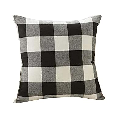 4TH Emotion 24 x 24 inch Black and White Buffalo Check Plaids Throw Pillow Case Cushion Cover Retro Farmhouse Decoration for Couch Sofa Bed
