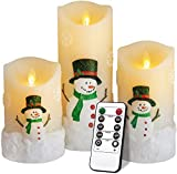 """Christmas Candles Gifts,Snowman LED Flameless Candles Battery Operated Pillar Candle Moving Effect Flickering Candles with Remote Timer for Christmas Decoration,4"""" 5"""" 6"""" Pack of 3"""