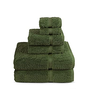 6 Piece Turkish Luxury Turkish Cotton Towel Set - Eco Friendly, 2 Bath Towels, 2 Hand Towels, 2 Wash Clothes by Turkish Towel (Set of 6, Moss)
