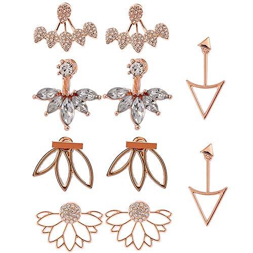 5 Pairs Lotus Flower Earrings Stud Jacket Earrings Simple Chic Earrings Back Cuffs Stud Earring sets for Women Girls Valentine's Day gift, Christmas gift