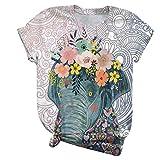 Camiseta de Mujer Verano de Dibujos Animados de Europa y América Animal Print Fashion All-Match Everyday Round Neck Top3X-Large