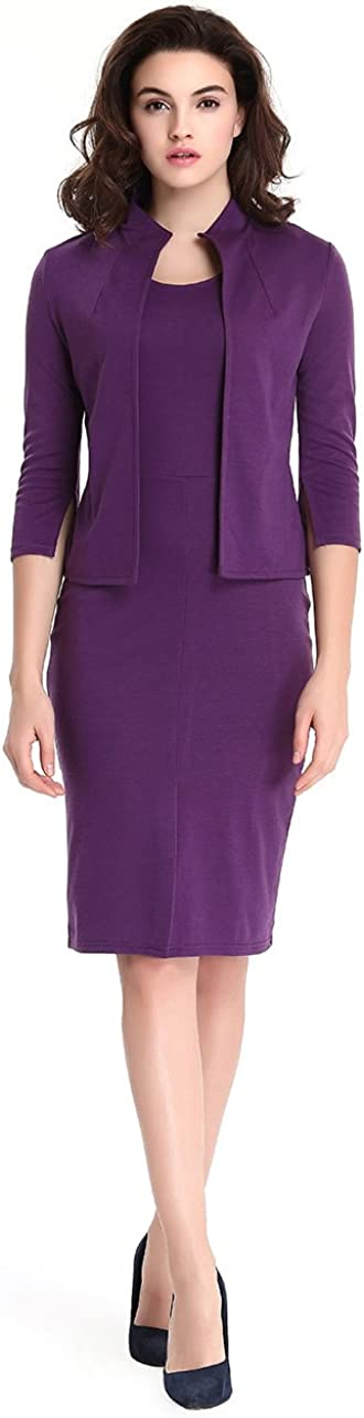 TINYHI Women's 3/4 Sleeve Wear to Work Two Pieces Business Bodycon Pencil Dress