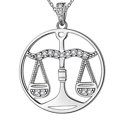 Besilver Sternzeichen Waage Zeichen Halskette 925 Sterling Silber Frauen Männer Unisex Konstellation Horoskop Schmuck Astrologie Anhänger Charme Halskette Kette FP0092T