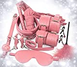 10 Pieces Novelty Leather Sports Fitness Work Out Belt Pink Suit, Family Indoor Bedroom Secret Gym