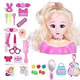 Ishine 25 piezas de muñecas de maquillaje de peluquería para niños, modelo de niñas de cabeza, estilo de muñeca, con accesorios, rubio, juguetes innovadores