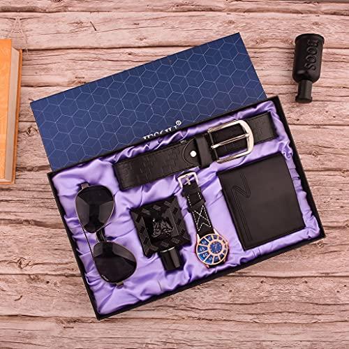 ZHSHTJNXYJD Conjunto de Regalo para Hombre Reloj con cinturón bellamente Envuelto + Gafas de Sol + Cartera + Botella de Perfume + Conjunto de cinturón Caja de Regalo (6PCS) (Color : Black)