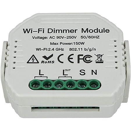 LEDLUX SH105 Led Triac Dimmer Taglio Di Fase Con Pulsante Normalmente Aperto 220V 150W Modulo WiFi Smart Con Memoria e Funzione Deviatore,Compatibile Con Alexa e Google Home
