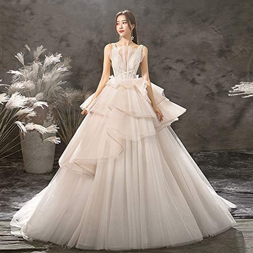 FAPROL Wunderschöne Damen Brautkleider Tüll V-Ausschnitt Ärmellose Abendkleider Long Tail Gown, Princesslike Temperament S