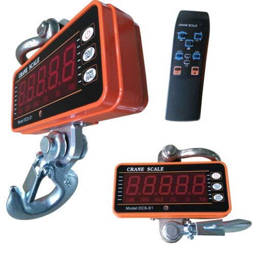 Aohuada 1/3/5 T Elektronische Kranwaage 500/1000/3000/5000KG Hängewaage Digitale Haken Hängewaage Crane Maßstab mit LED Display und Fernbedienung (1000KG/1T)