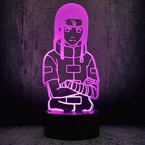 Lámpara de ilusión 3D 3D, lámpara de ilusión LED, luz nocturna de Naruto con interruptor táctil, base remoto, forma de dibujos animados para niños, decoración del hogar N11-N9