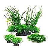 Smoothedo-Pets - Planta artificial de plástico para acuario, diseño de peces de tamaño medio/alto, 16 cm, color verde