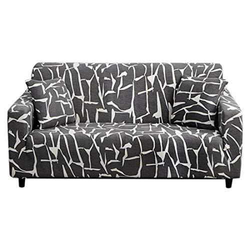 laamei Funda de Sofá Elástica Funda Estampada para sofá Antideslizante Protector Cubierta de Muebles Tela de Poliéster con Diseño Floral Moderno(Gris,2 plazas)
