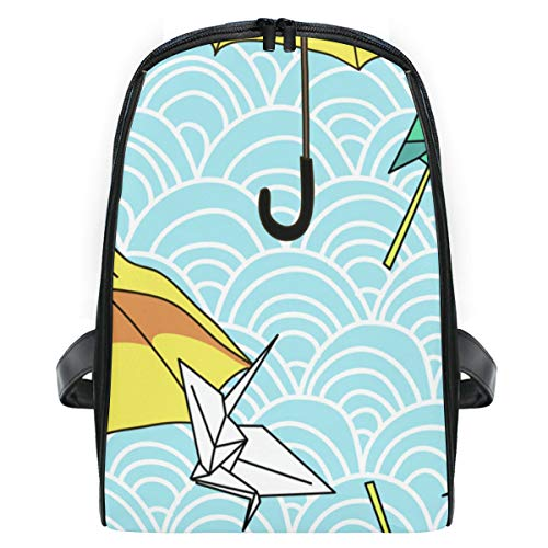 ELIENONO Mochilas Escolares Juveniles,Vector Transparente Paraguas Amarillo Origami Figuras,Mochila Hombre Casual Mochila para Portatil Resistente Mochila Instituto para Chicos