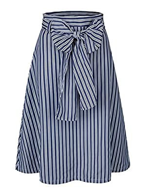 Women's Flared Bowknot Front Skirt A-Line Pleated Vintage Skirts with Pockets