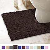 ITSOFT Non-Slip Shaggy Chenille Toilet Contour Bathroom Rug with Water Absorbent, Machine Washable, 21 x 24 Inches U-Shaped Chocolate Brown