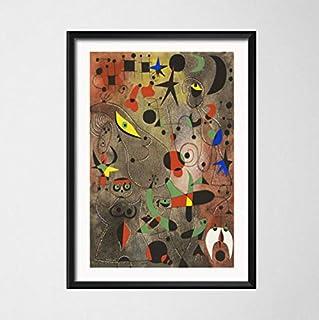 zpbzambm Cuadro En Lienzo 40X50Cm Sin Marco,Joan Miro Surrealismo Moderno Pinturas De Arte Abstracto Imagen Retro Arte Seda Pintura sobre Lienzo Cartel De La Pared Decoración para El Hogar Zp-2878
