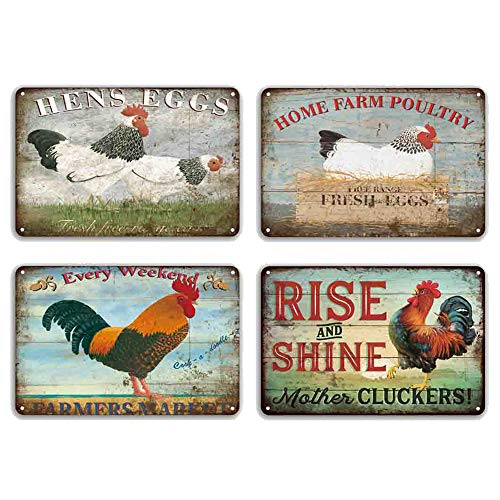 FlowerBeads Farmhouse Sign Metal Chicken Signs Funny Wall Signs Chicken Art Tin Signs Chicken Coop Country Decor for Home (4pcs-Chicken Signs 3)