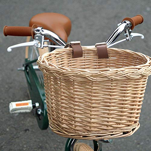 N/P Manubrio Anteriore Cestello per Bici in Vimini Intrecciato a Mano Artigianato Popolare Manubrio per Bicicletta Cesto portaoggetti Staccabile Acqua con Cinghie in Pelle (Legno Naturale)