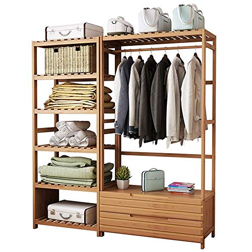 Kledingrek kast opbergen bamboe kledingrek met lade en rekken wasrek voor entree woonkamer slaapkamer vele maten optioneel vrijstaand (grootte: 50 cm + 50 cm) 50 cm + 80 cm.