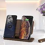 Soporte De Cargador Inalámbrico Rápido De Madera, 5 Bobinas Dual QI Carga Internacional Carga MÚLICACIÓN Múltiples Dispositivos Dock De Carga para iPhone/Samsung Note 10 Más Dispositivo QI