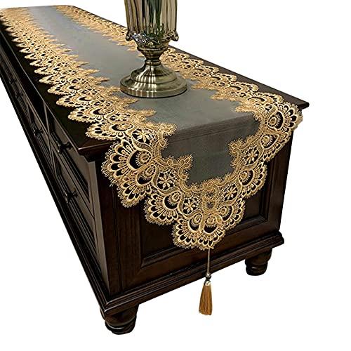Cozy69 - Runner da tavola ovale ricamato, per tavolo da tè in Europa, con ciondolo in pizzo, con nappa, per cassettiera, colore: oro, dimensioni: 40 x 220 cm