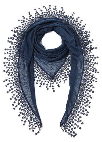 Cindy & Wendy Leichter Dreieckstuch mit floralem Muster aus Spitze und Fransen für Damen - Blau - Einheitsgröße