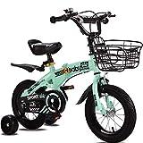 OFAY Bicicleta para Niños con Ruedas De Entrenamiento para 12 14 16 Bicicleta De 18 Pulgadas para Edades De 2 A 9 Años Niñas Y Niños, Bicicleta Plegable para Niños Pequeños,Verde,12 Inches