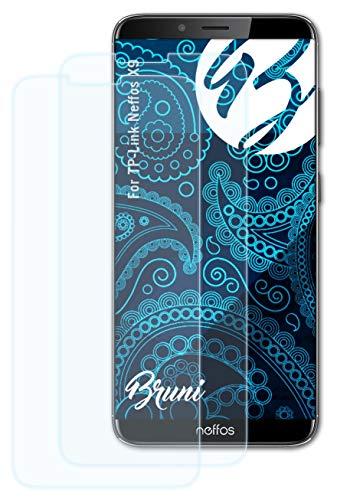 Bruni Schutzfolie kompatibel mit TP-Link Neffos X9 Folie, glasklare Bildschirmschutzfolie (2X)