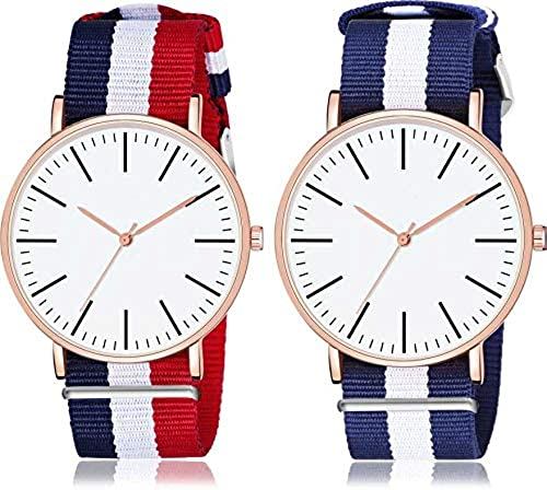 Classic Formal And Professional Look Collection Analauge Multi Colour Dial Combo Watchs For Girls And Boys Pack Of 2 DW RD BLU