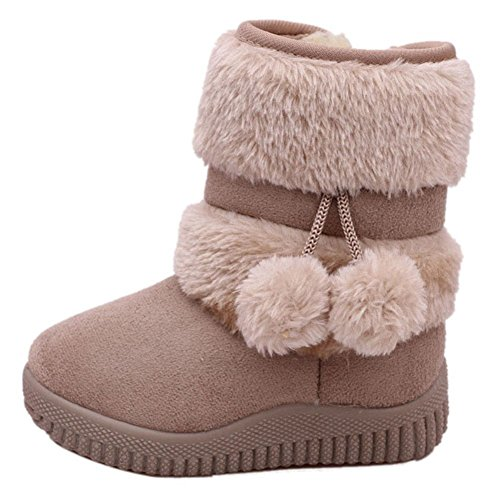 LOSORN ZPY Toddler Baby Boy's Girl's Snow Boot Flat Pom Pom Winter Warm Shoes Ankle Booties (1-7 Years Children)