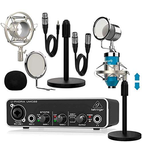 Behringer UMC22 Interface Audio con Micrófono Estudio Pro Dublin Blue Pack (Micrófono + Soportes + Antipop + Cables)
